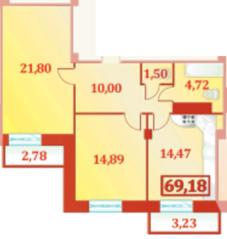 ЖК «Шереметевский Дворец», планировка 2-комнатной квартиры, 69.18 м²
