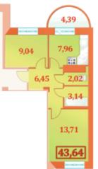 ЖК «Шереметевский Дворец», планировка 2-комнатной квартиры, 43.64 м²