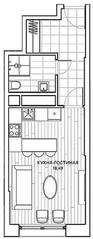 ЖК «Береговой» (Филёвский парк), планировка студии, 29.90 м²