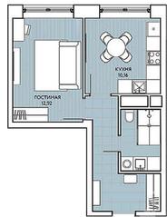 ЖК «Береговой» (Филёвский парк), планировка 1-комнатной квартиры, 36.05 м²