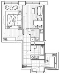 ЖК «Береговой» (Филёвский парк), планировка 1-комнатной квартиры, 49.33 м²
