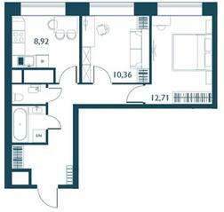 ЖК «Береговой» (Филёвский парк), планировка 2-комнатной квартиры, 49.18 м²