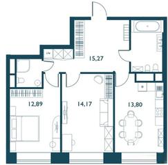 ЖК «Береговой» (Филёвский парк), планировка 2-комнатной квартиры, 65.00 м²