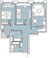 ЖК «Береговой» (Филёвский парк), планировка 2-комнатной квартиры, 69.45 м²