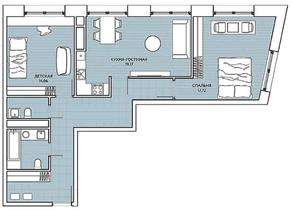 ЖК «Береговой» (Филёвский парк), планировка 2-комнатной квартиры, 75.91 м²