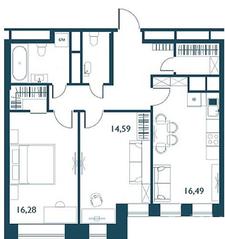 ЖК «Береговой» (Филёвский парк), планировка 2-комнатной квартиры, 71.82 м²