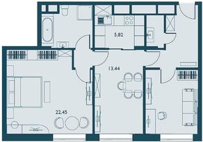 ЖК «Береговой» (Филёвский парк), планировка 3-комнатной квартиры, 68.13 м²
