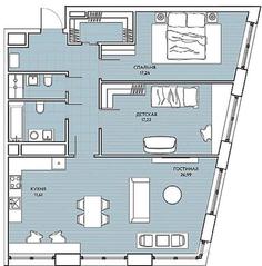 ЖК «Береговой» (Филёвский парк), планировка 3-комнатной квартиры, 95.28 м²