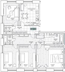 ЖК «Береговой» (Филёвский парк), планировка 4-комнатной квартиры, 122.96 м²