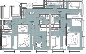 ЖК «Береговой» (Филёвский парк), планировка 5-комнатной квартиры, 123.41 м²