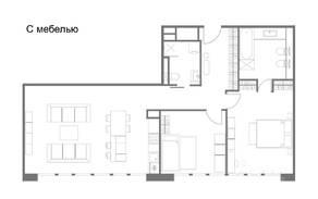 МФК «Tatlin Apartments», планировка 2-комнатной квартиры, 90.23 м²