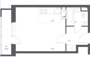 ЖК «Остафьево», планировка студии, 27.34 м²