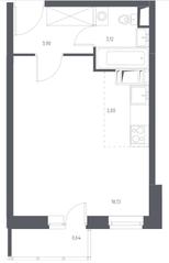 ЖК «Остафьево», планировка студии, 28.79 м²
