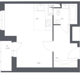 ЖК «Остафьево», планировка студии, 28.73 м²