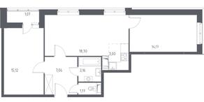 ЖК «Остафьево», планировка 3-комнатной квартиры, 63.05 м²