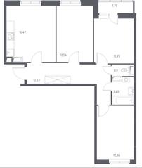 ЖК «Остафьево», планировка 3-комнатной квартиры, 70.04 м²
