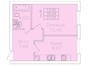 МЖК «на Микояна, 54-57», планировка 1-комнатной квартиры, 37.03 м²