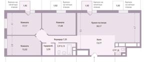 ЖК «Клубный дом «Концепт House», планировка 4-комнатной квартиры, 120.00 м²