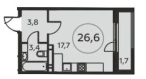 ЖК «Москва А101», планировка студии, 26.60 м²
