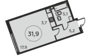 ЖК «Москва А101», планировка студии, 31.90 м²