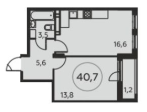 ЖК «Москва А101», планировка 1-комнатной квартиры, 40.70 м²