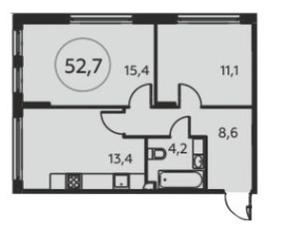 ЖК «Москва А101», планировка 2-комнатной квартиры, 52.60 м²
