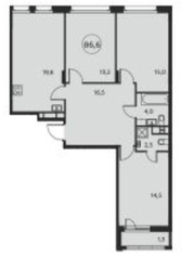 ЖК «Москва А101», планировка 3-комнатной квартиры, 86.60 м²
