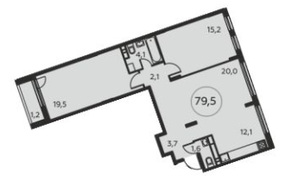 ЖК «Москва А101», планировка 3-комнатной квартиры, 79.50 м²
