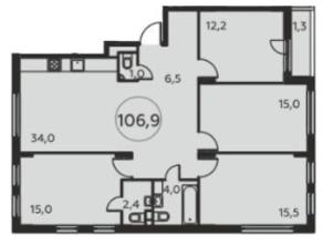 ЖК «Москва А101», планировка 4-комнатной квартиры, 106.90 м²