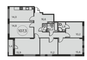 ЖК «Москва А101», планировка 5-комнатной квартиры, 107.30 м²