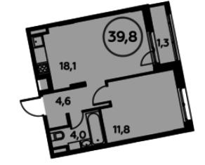 ЖК «Скандинавия», планировка квартиры со свободной планировкой, 39.80 м²