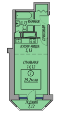 ЖК «Марз» (корп. 5), планировка студии, 29.20 м²