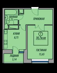 ЖК «Марз» (корп. 5), планировка 1-комнатной квартиры, 38.70 м²