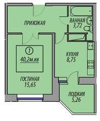 ЖК «Марз» (корп. 5), планировка 1-комнатной квартиры, 40.20 м²