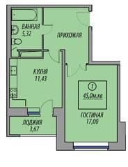 ЖК «Марз» (корп. 5), планировка 1-комнатной квартиры, 45.00 м²