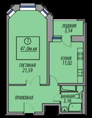 ЖК «Марз» (корп. 5), планировка 1-комнатной квартиры, 47.00 м²