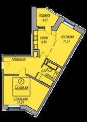 ЖК «Марз» (корп. 5), планировка 2-комнатной квартиры, 52.00 м²