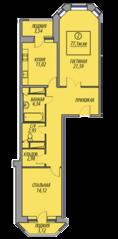 ЖК «Марз» (корп. 5), планировка 2-комнатной квартиры, 77.10 м²