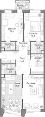 ЖК «Счастье на Масловке», планировка 3-комнатной квартиры, 103.30 м²