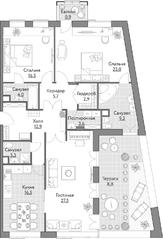 ЖК «Счастье на Масловке», планировка 3-комнатной квартиры, 132.00 м²