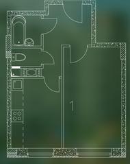 ЖК «Квартал Гальчино», планировка 1-комнатной квартиры, 32.60 м²