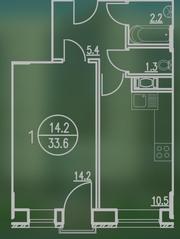 ЖК «Квартал Гальчино», планировка 1-комнатной квартиры, 33.99 м²