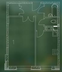 ЖК «Квартал Гальчино», планировка 1-комнатной квартиры, 37.10 м²