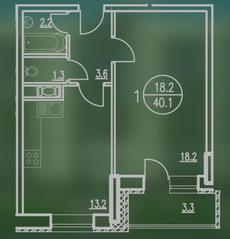 ЖК «Квартал Гальчино», планировка 1-комнатной квартиры, 40.10 м²