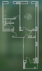 ЖК «Квартал Гальчино», планировка 2-комнатной квартиры, 65.20 м²