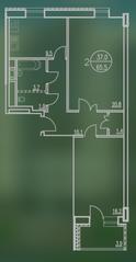 ЖК «Квартал Гальчино», планировка 2-комнатной квартиры, 65.50 м²