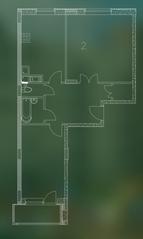 ЖК «Квартал Гальчино», планировка 2-комнатной квартиры, 67.60 м²