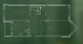 ЖК «Квартал Гальчино», планировка 3-комнатной квартиры, 75.90 м²
