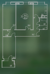 ЖК «Квартал Гальчино», планировка 3-комнатной квартиры, 88.00 м²