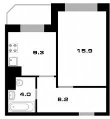 ЖК «Союзный», планировка 1-комнатной квартиры, 37.50 м²